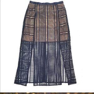 Topshop Split Geometric Lace Skirt